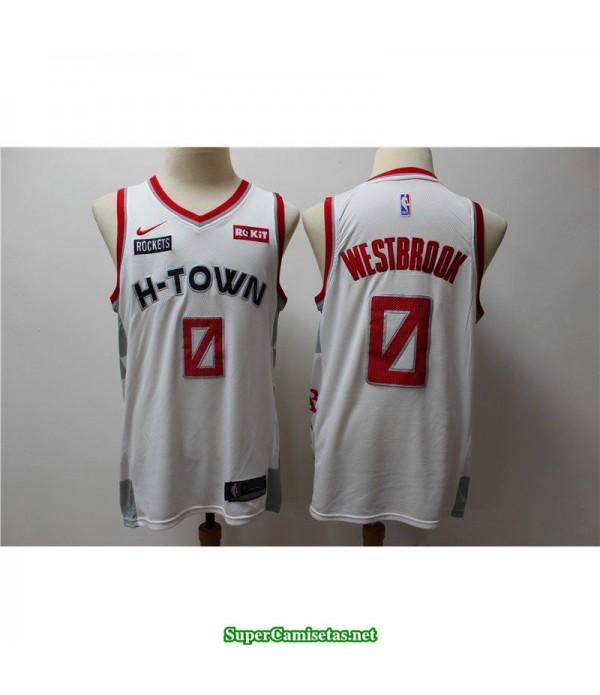 Camiseta 2020 Westbrook 0 blanca Houston Rockets Parche