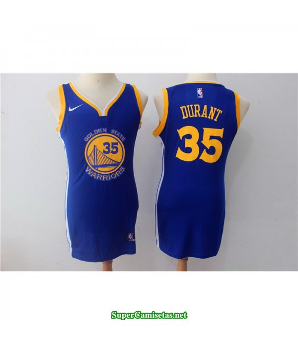 Camiseta 2018 Durant 35 chica Golden State Warriors azul