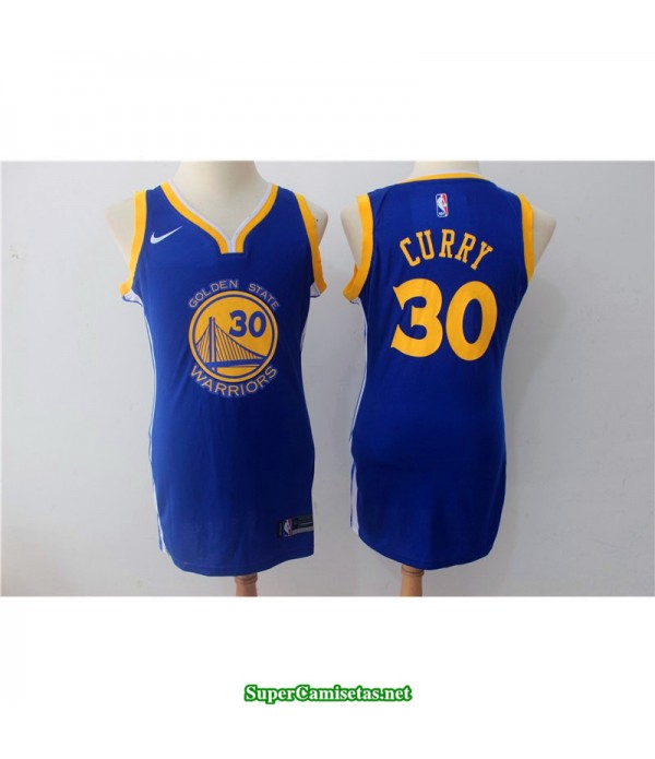 Camiseta 2018 Curry 30 chica Golden State Warriors azul