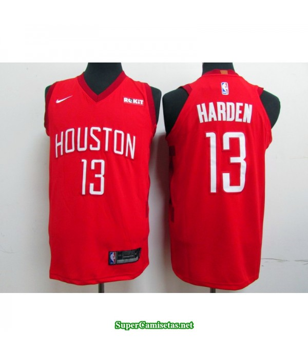 Camiseta 2019 Harden 13 roja Houston Rockets publicidad