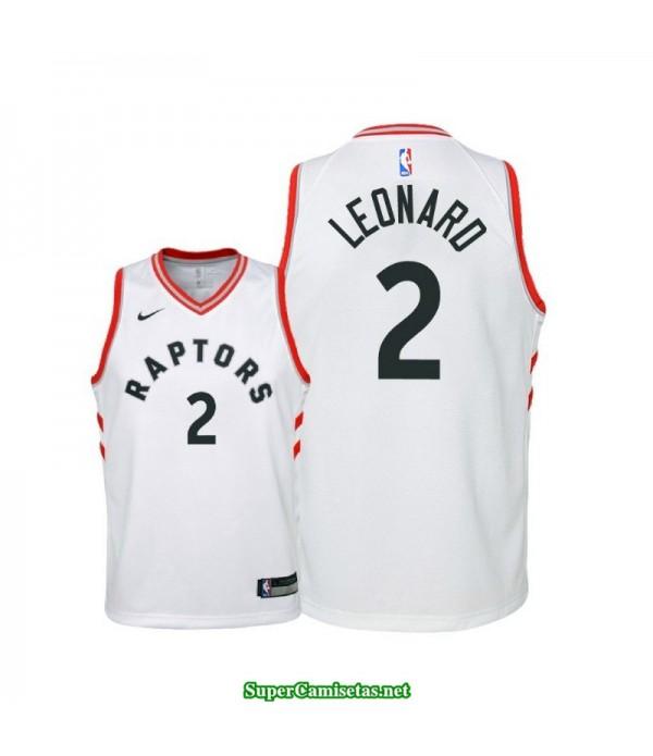 Camiseta Niños Leonard 2 blanca Toronto Raptors