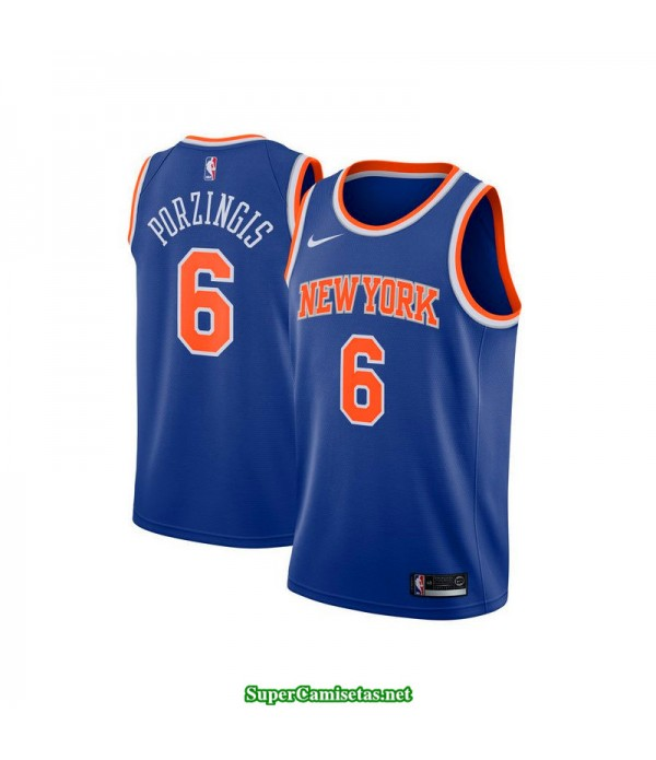 Camiseta 2018 Porzingis 6 azul New York Knicks b
