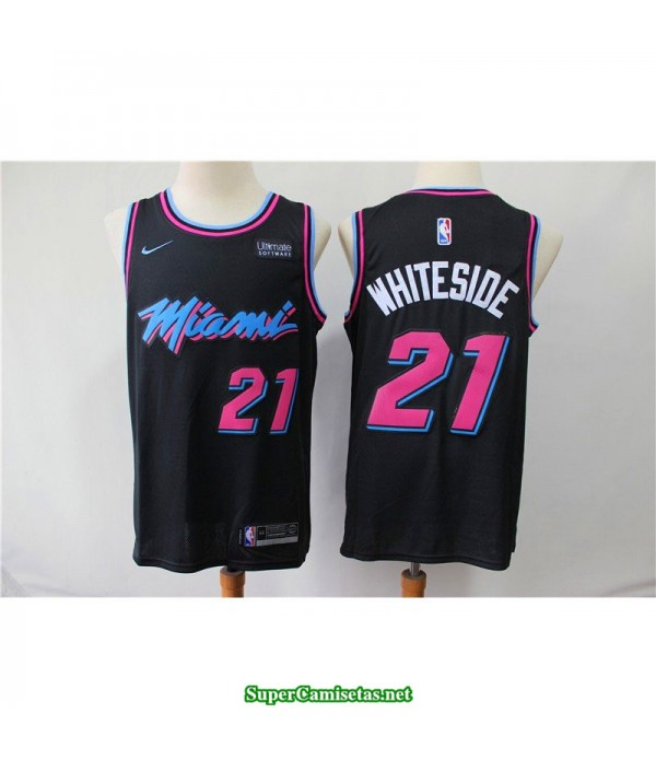 Camiseta Whiteside 21 negra b Miami Heat