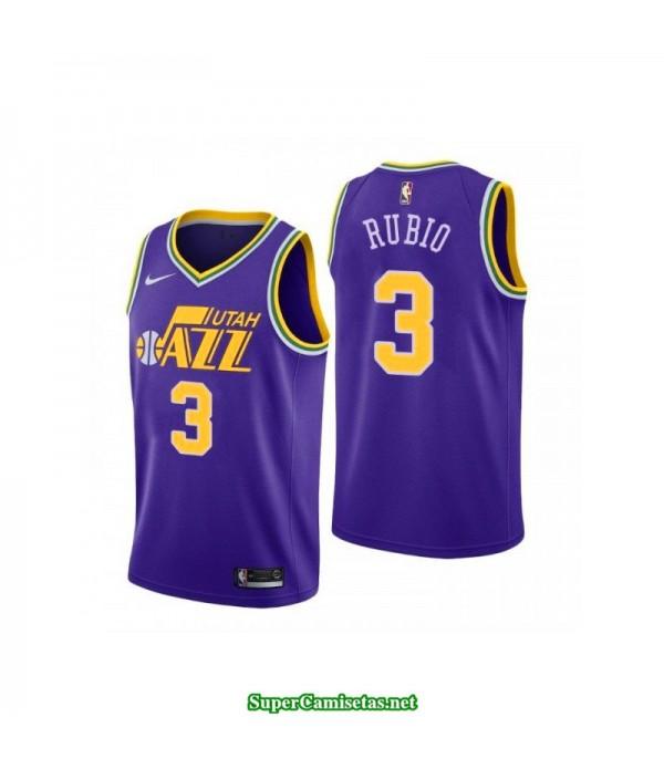 Camiseta 2018 Ricky Rubio 3 morada Utah Jazz