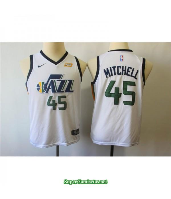 Camiseta 2018 Mitchell 45 blanca Utah Jazz patrocinador