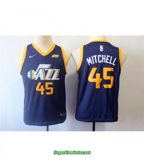 Camiseta 2018 Mitchell 45 azul Utah Jazz patrocinador