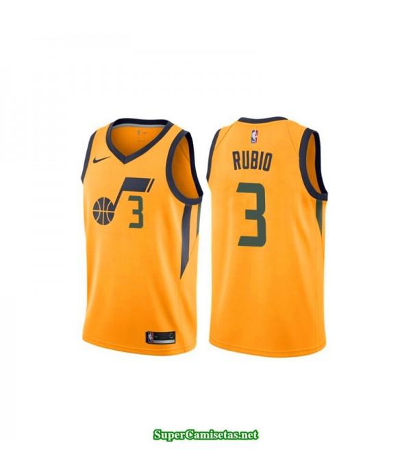 Camiseta 2018 Ricky Rubio 3 amarilla Utah Jazz