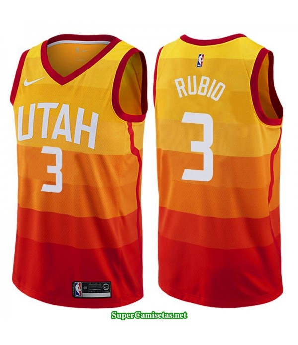 Camiseta 2018 Ricky Rubio 3 naranja Utah Jazz