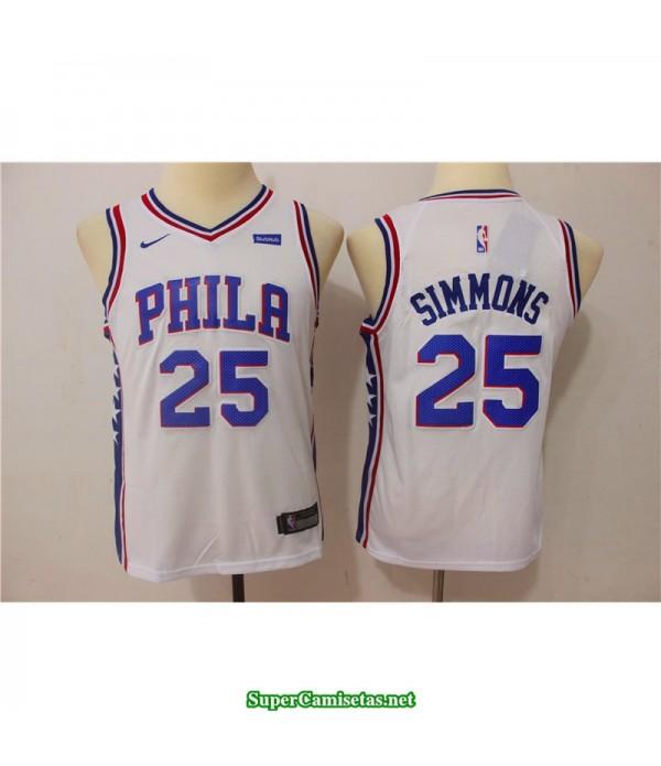 Camiseta NIÑOS Simmons 25 sixers blanca