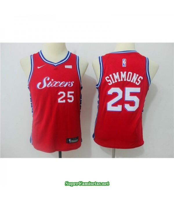 Camiseta NIÑOS Simmons 25 sixers roja