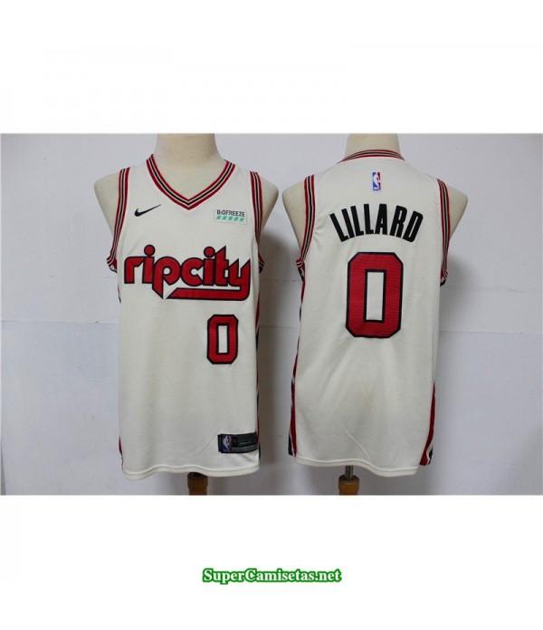 Camiseta Lillard 0 blanca Portland Trailbrazzers