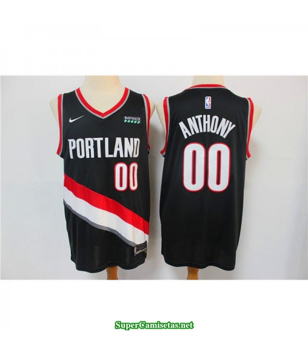 Camiseta Anthony 00 negra Portland Trailbrazzers