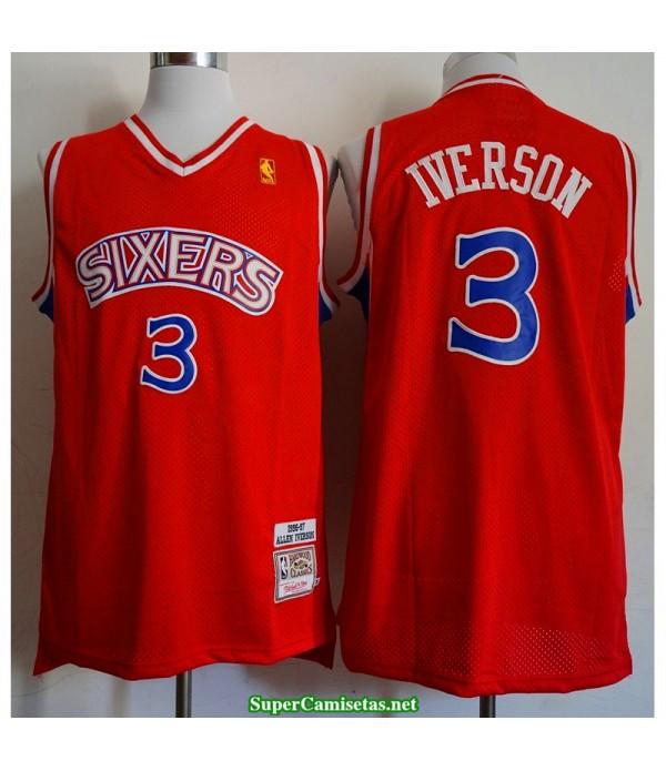 Camiseta Iverson 3 roja Philadelphia Sixers