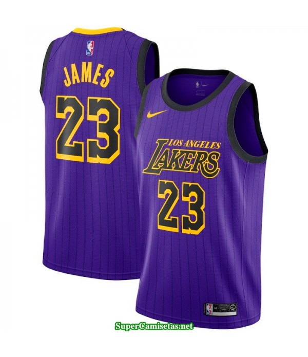 Camiseta Los Angeles Lakers James 23 Morada city