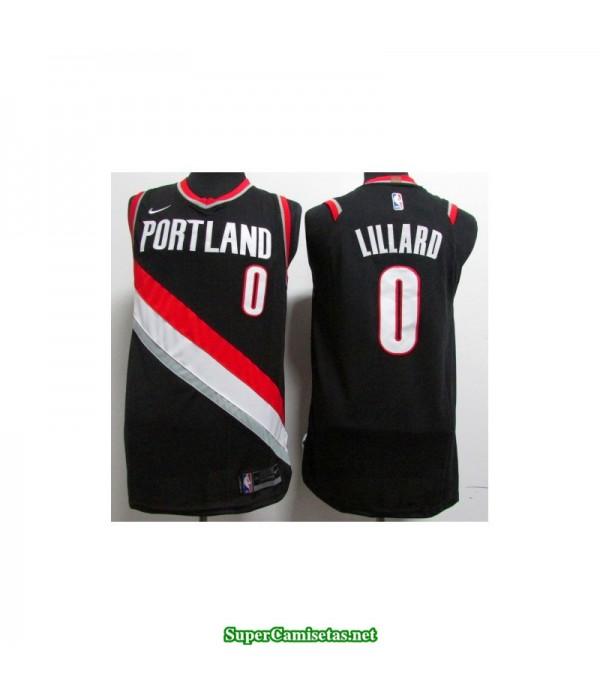 Camiseta 2018 Lillard 0 negra Portland Trailbrazzers