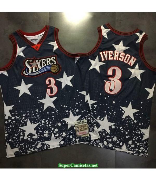 Camiseta Iverson 3 negra estrellas Philadelphia Sixers