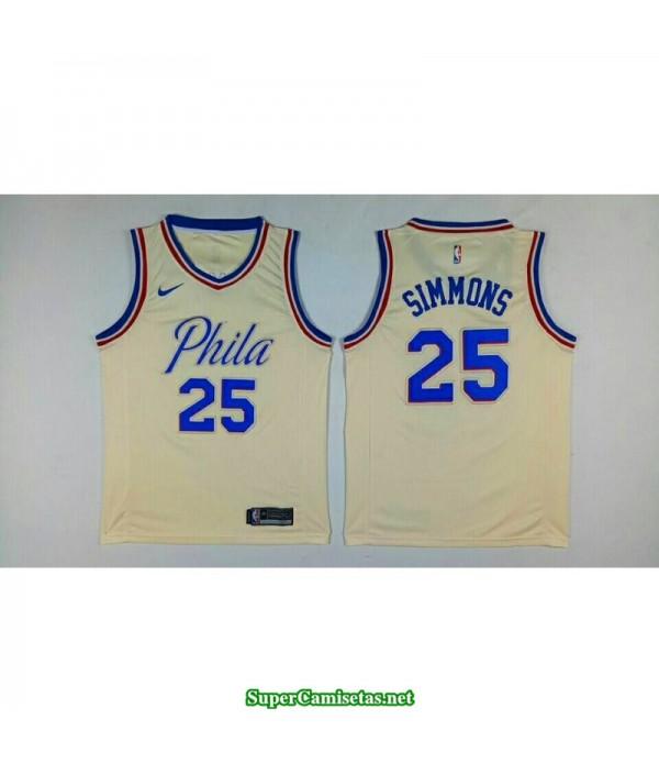 Camiseta 2018 Simmons 25 blanca Philadelphia Sixers b