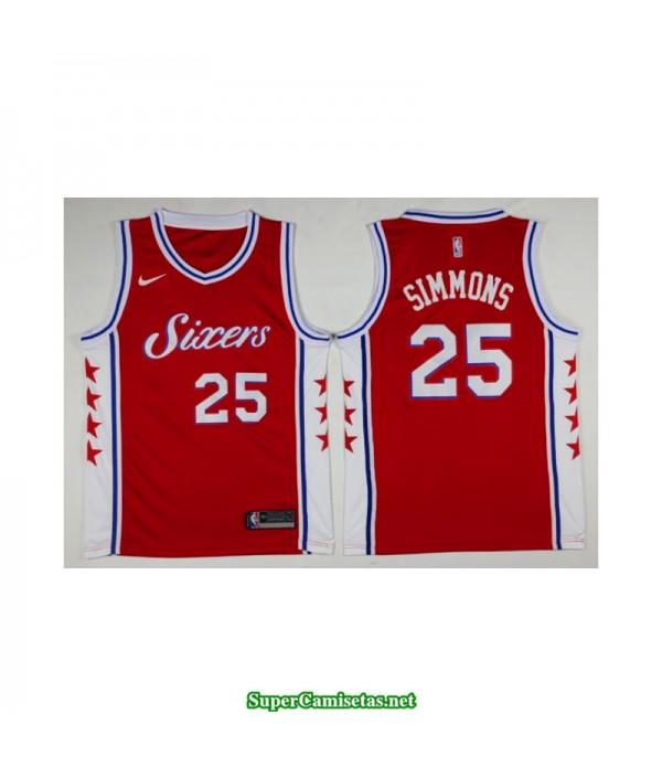 Camiseta 2018 Simmons 25 roja Philadelphia Sixers