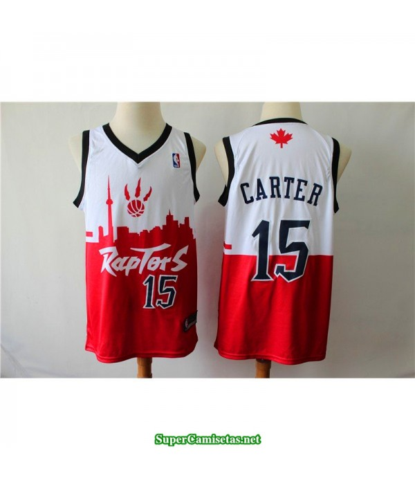 Camiseta Carter 15 Roja Blanca toronto raptors