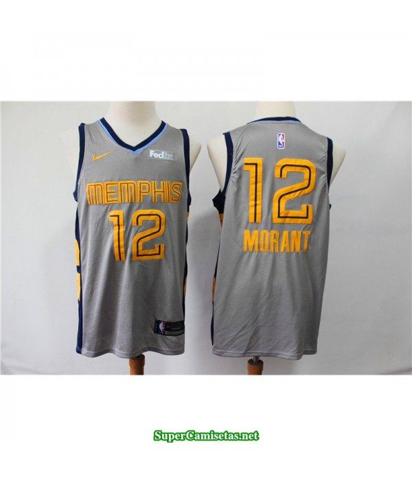 Camiseta 2019 Morant 12 Memphis Grizzlies gris