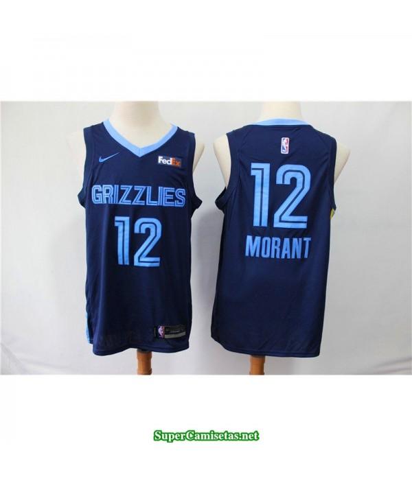 Camiseta 2019 Morant 12 Memphis Grizzlies azul oscuro