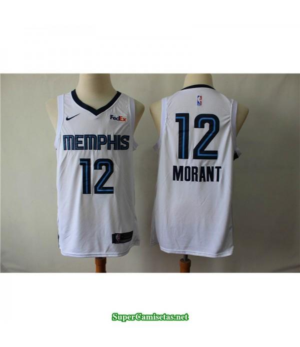 Camiseta 2019 Morant 12 Memphis Grizzlies blanca