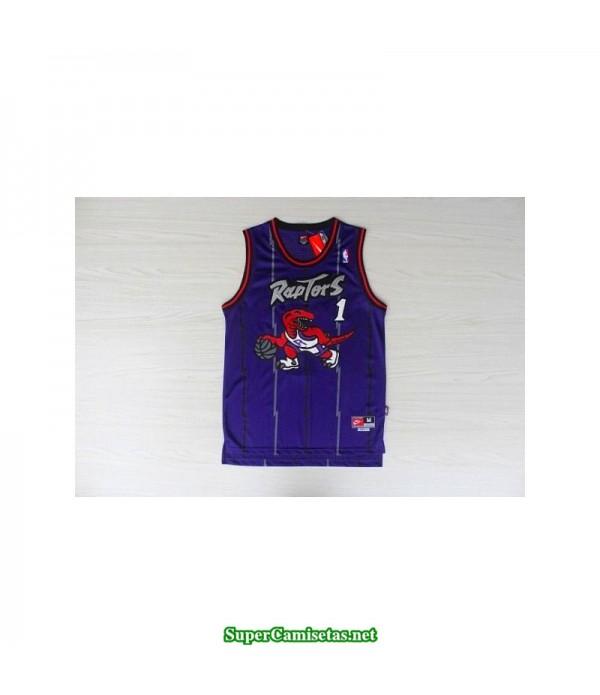 Camiseta Mc Grady 1 dinosaurio morada toronto raptors