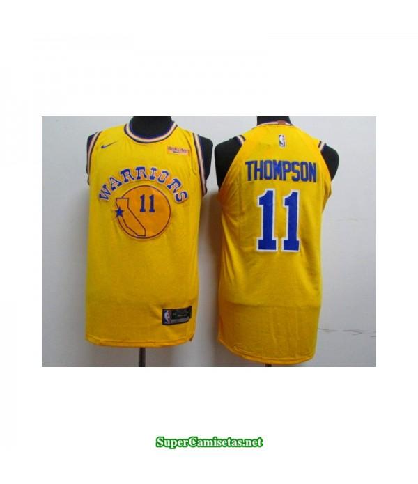 Camiseta 2019 Thompson 11 amarilla retro Golden State Warriors publicidad