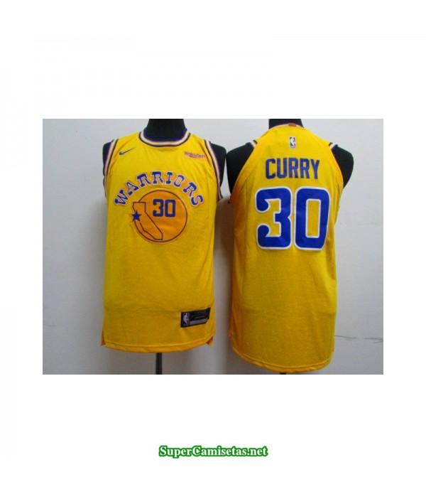 Camiseta 2019 Stephen Curry 30 amarilla retro Golden State Warriors publicidad
