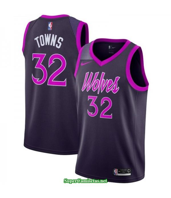 Camiseta 2019 Towns 32 negra Minnesota Wolves city