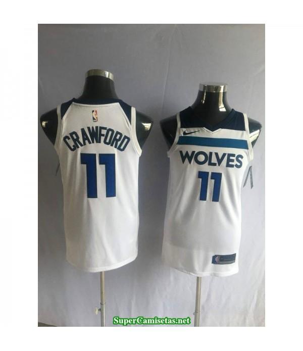 Camiseta 2018 Crawford 11 blanca Minnesota Wolves