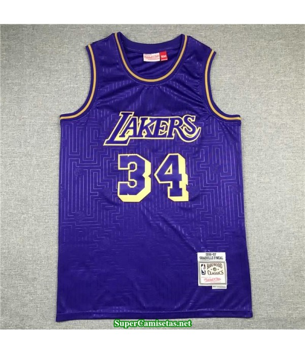 Camiseta nba Oneal 34 stripes Angeles Lakers Mamba