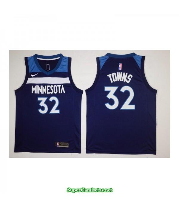 Camiseta 2018 Towns 32 azul Minnesota Wolves