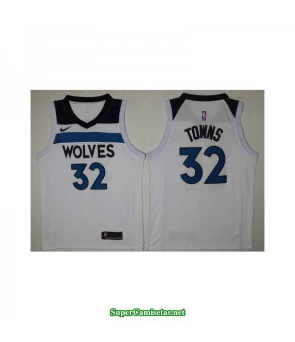 Camiseta 2018 Towns 32 blanca Minnesota Wolves