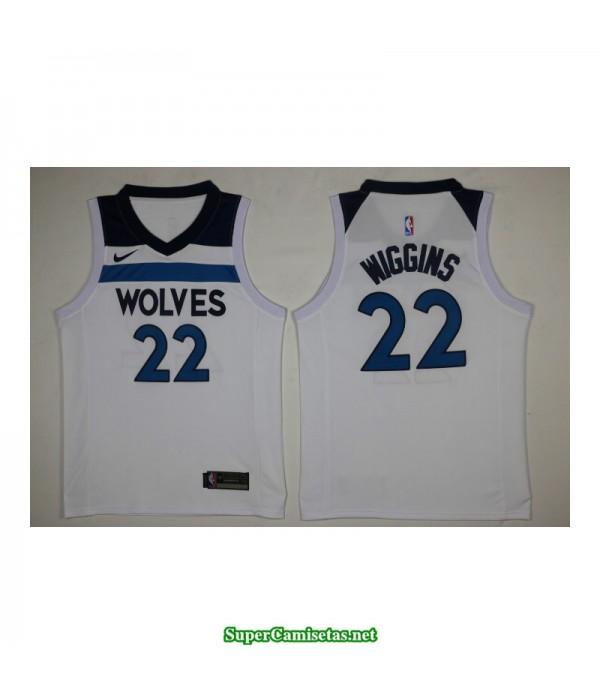 Camiseta 2018 Wiggins 22 blanca Minnesota Wolves