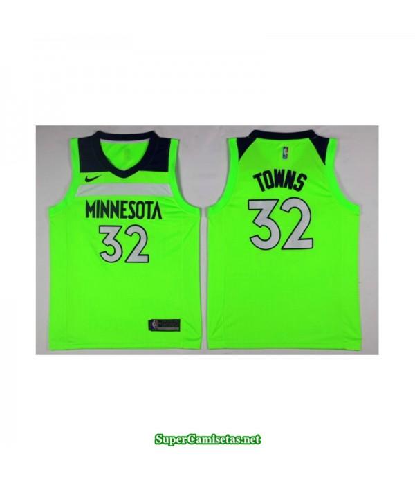 Camiseta 2018 Towns 32 Verde Minnesota Wolves