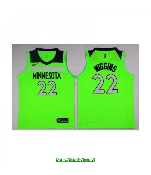 Camiseta 2018 Wiggins 22 Verde Minnesota Wolves