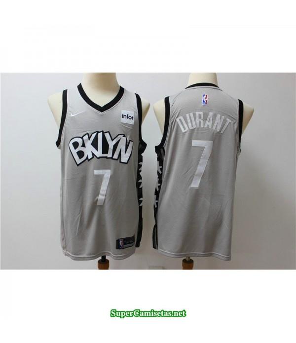 Camiseta 2020 Nets Brooklyn Kevin Durant 7 gris