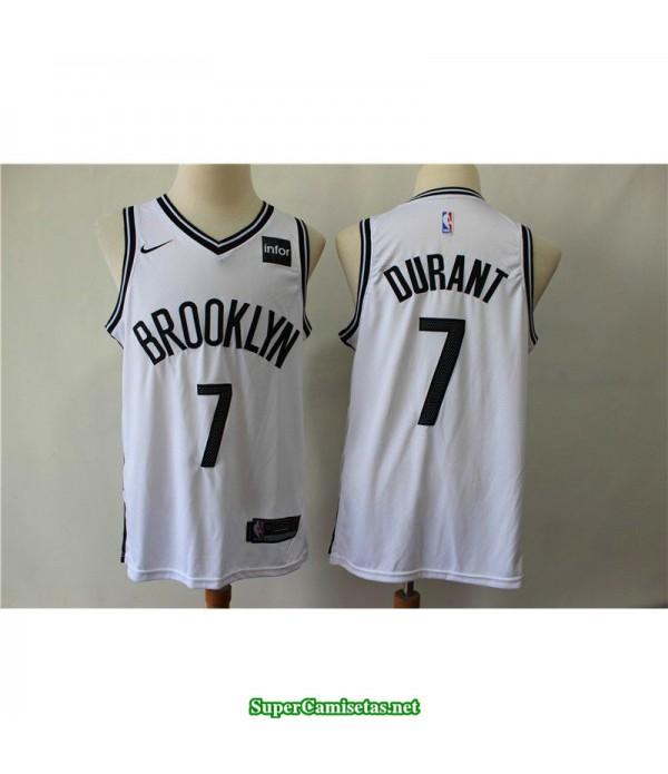 Camiseta Nets Brooklyn Kevin Durant 7 blanca