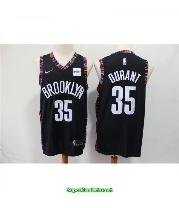 Camiseta Nets Brooklyn Kevin Durant 35 negra