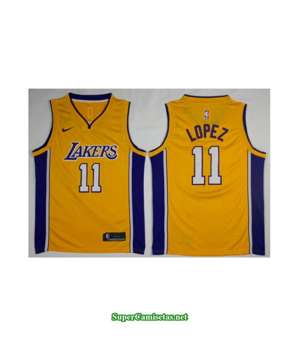 Camiseta Lopez 11 amarilla Angeles Lakers