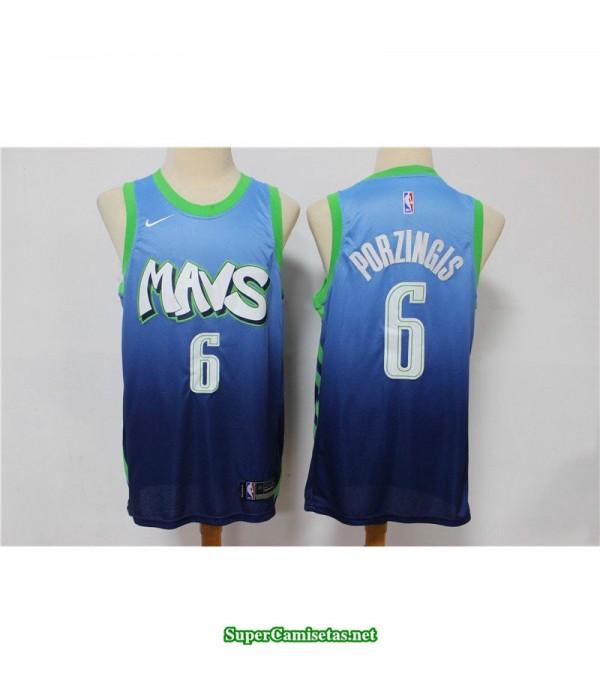 Camiseta nba Dallas Mavericks Porzingis 6 azul verde