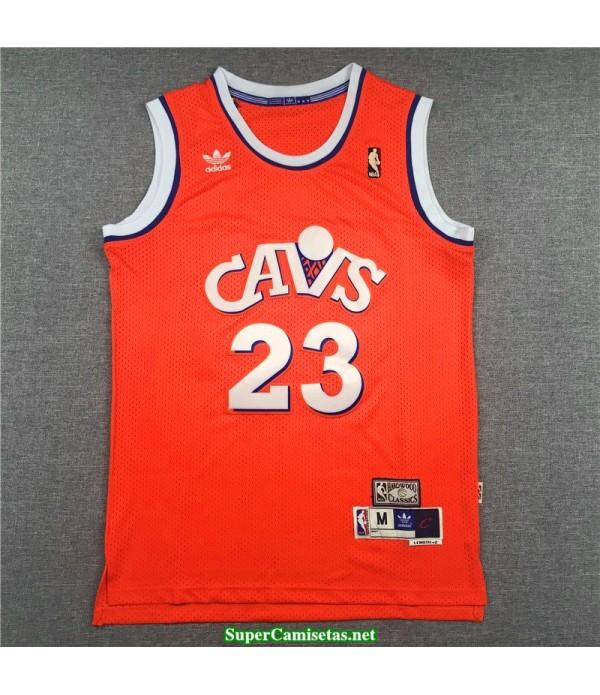 Camiseta Lebron James 23 Cavaliers Naranja Retro