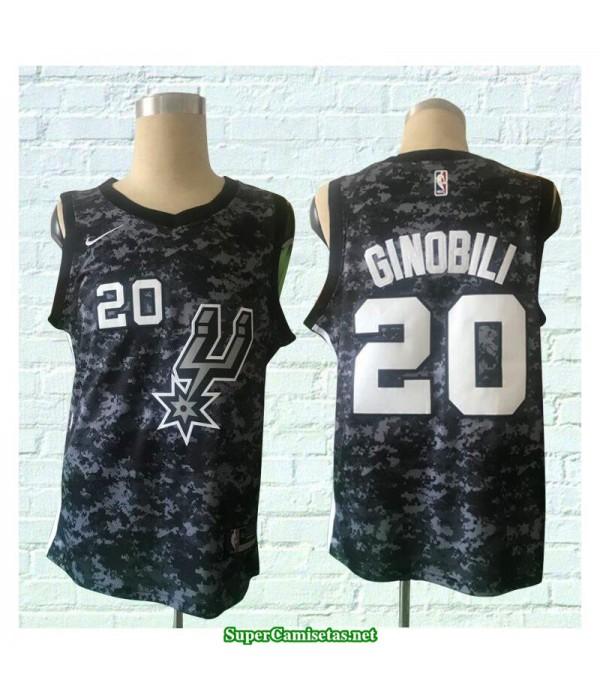 Camiseta 2018 Ginobili 20 camuflaje San Antonio Spurs