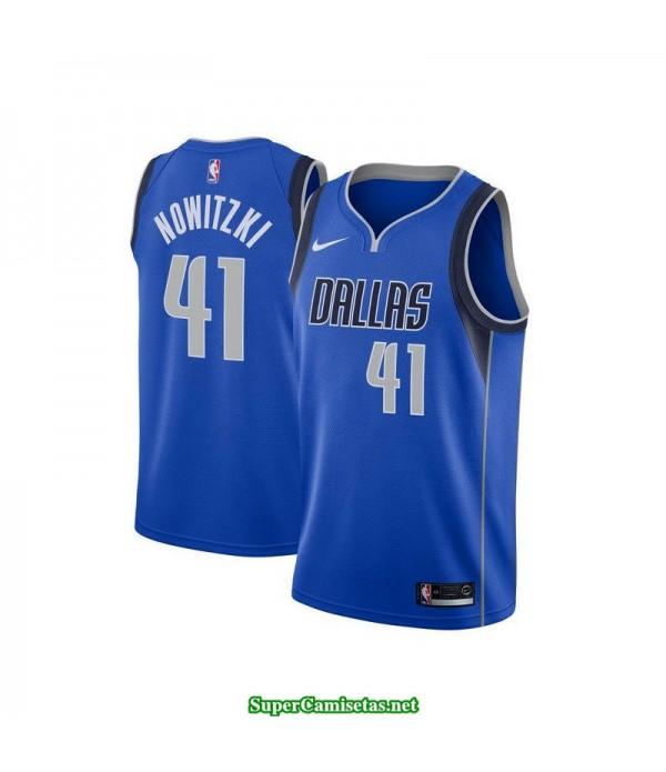 Camiseta 2018 Nowitzki 41 azul Mavericks Dallas