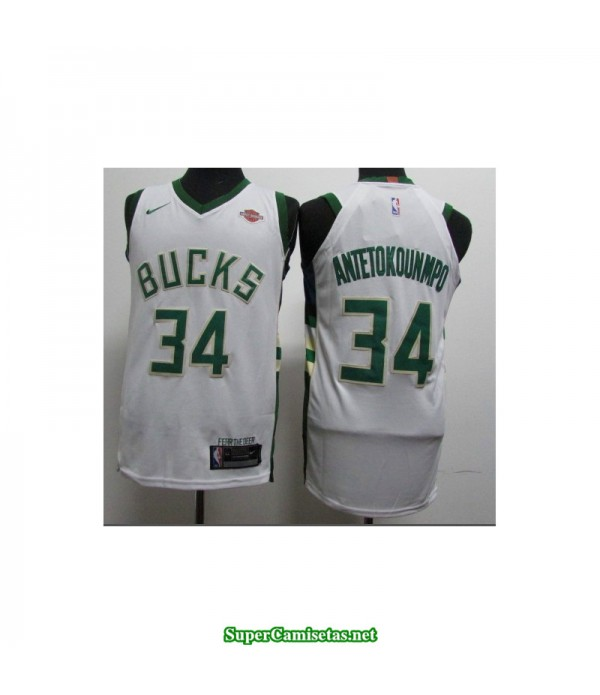 Camiseta 2018 Antetokunmpo 34 blanca Milwaukee Bucks
