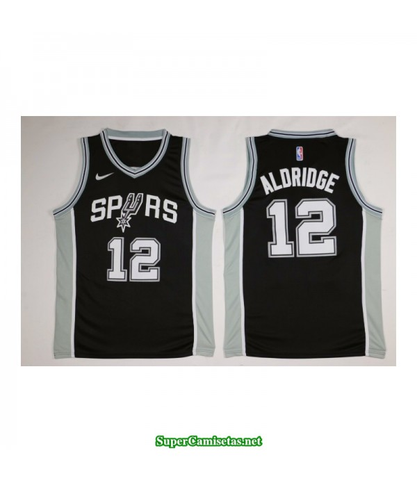 Camiseta 2018 Aldridge 12 negra San Antonio Spurs