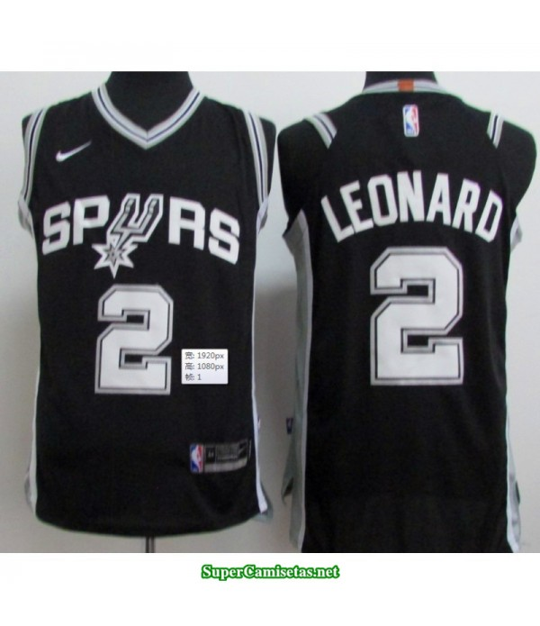 Camiseta 2018 Leonard 2 negra San Antonio Spurs