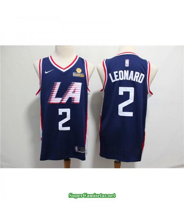 Camiseta 2019 Leonard 2 azul Angeles Clippers oscura