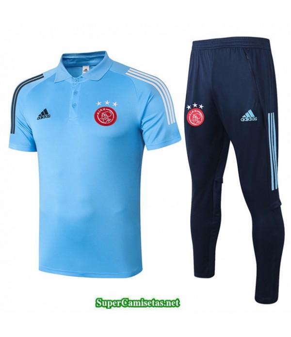 Tailandia Camiseta Kit De Entrenamiento Afc Ajax Polo Azul Claro 2020